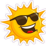 cartoon sun wearing sunglasses